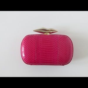 DVF Flirty Lips Minaudière in Raspberry Snakeskin